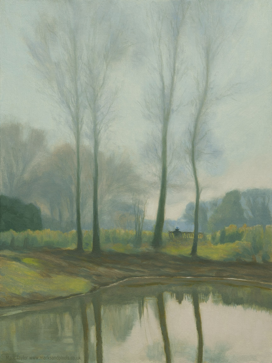 Chorleywood common oil painting Spring at the ponds